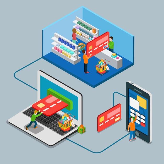Plat isometrische betalingstype concept. man betaalt grote creditcard supermarkt laptop mobiel online. Premium Vector