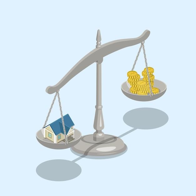 Plat isometrische onroerend goed hypotheek verkoop waardeschalen Gratis Vector