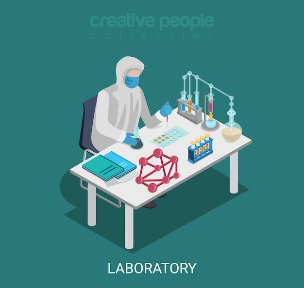 Plat isometrische science lab experiment onderzoek farmacie chemische stof Gratis Vector