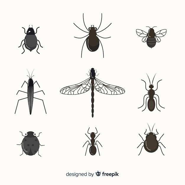 Plat kleurloos insectenpakket Gratis Vector