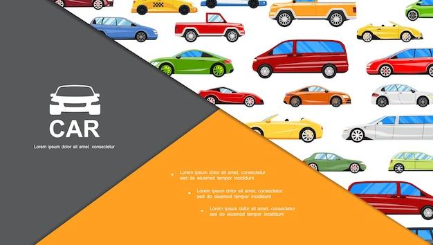Plat kleurrijke auto's samenstelling Gratis Vector