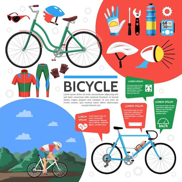 Plat kleurrijke fiets poster Gratis Vector