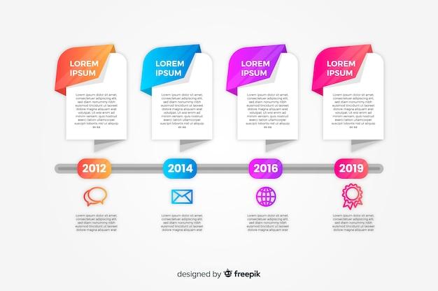 Plat kleurrijke verloop tijdlijn infographics Gratis Vector