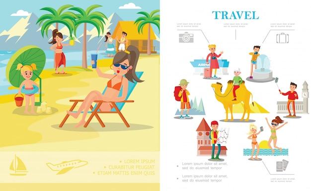 Plat kleurrijke zomervakantie samenstelling met mensen ontspannen op tropisch strand en toeristen die de wereld rondreizen Gratis Vector