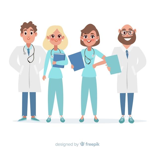Plat medisch personeel van een ziekenhuis Gratis Vector