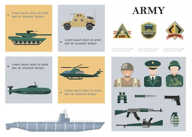 Plat militaire samenstelling met tank gepantserde auto helikopter onderzeeër oorlogsschip soldaten officier wapen verrekijker en legeremblemen Gratis Vector