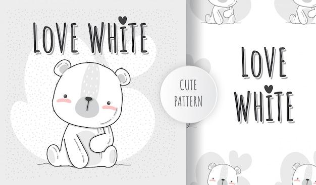 Plat naadloos patroon schattige dieren witte beer Premium Vector