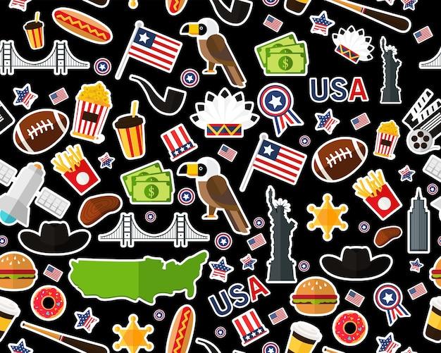 Plat naadloos textuurpatroon de verenigde staten van amerika Premium Vector