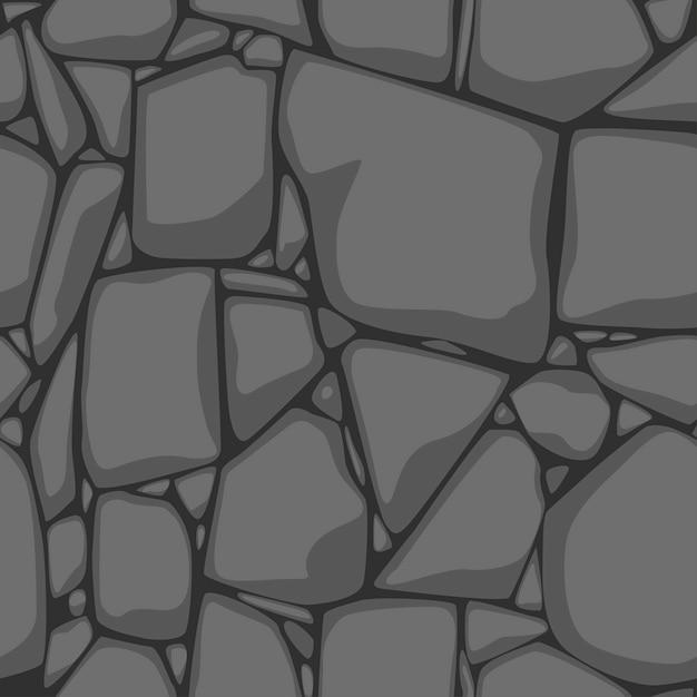 Plat naadloze steen textuur. grijze stenen achtergrond. zwart-wit naadloze textuur. Premium Vector