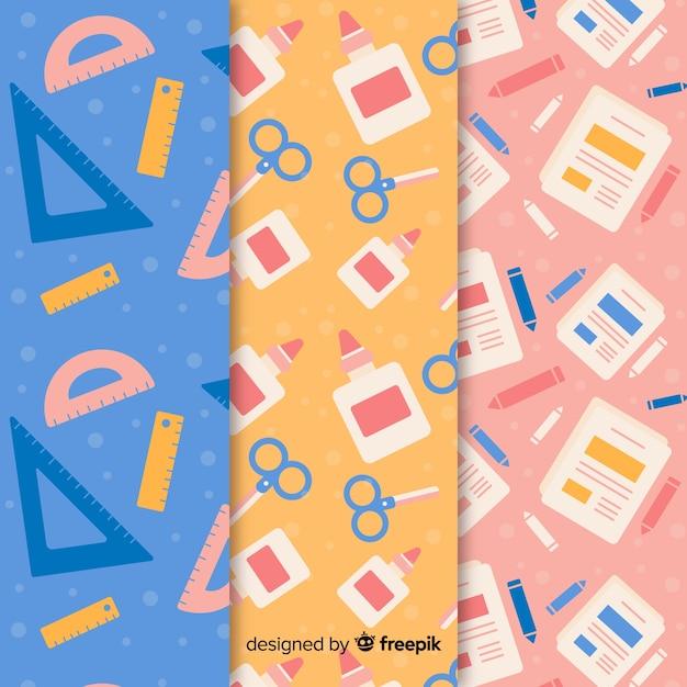 Plat naar school patroonverzameling Gratis Vector