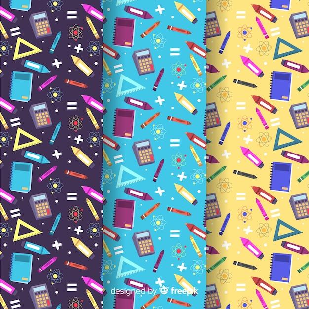 Plat naar school patroonverzameling Premium Vector
