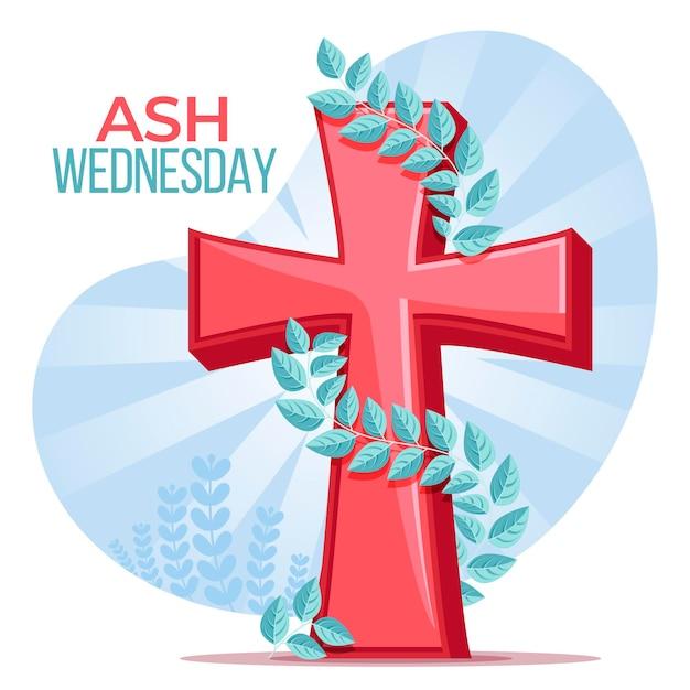 Plat ontwerp aswoensdag geïllustreerd kruis Gratis Vector