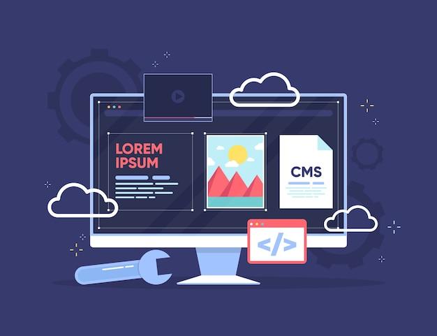 Plat ontwerp cms op transparant scherm met apps Gratis Vector