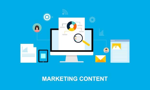 Plat ontwerp content marketing systeem Premium Vector