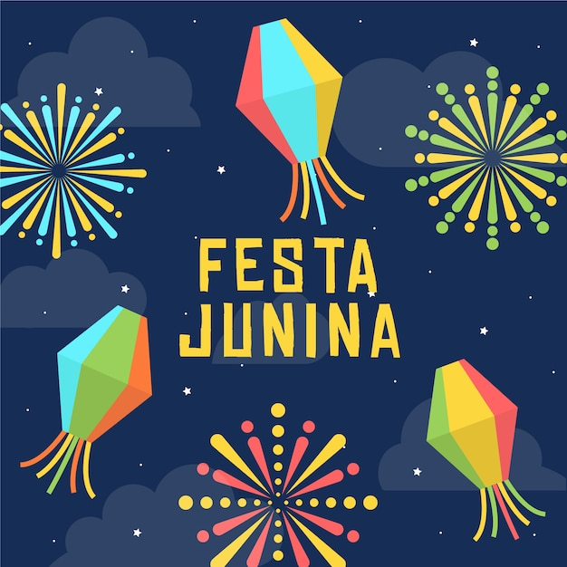 Plat ontwerp festa junina behang Gratis Vector
