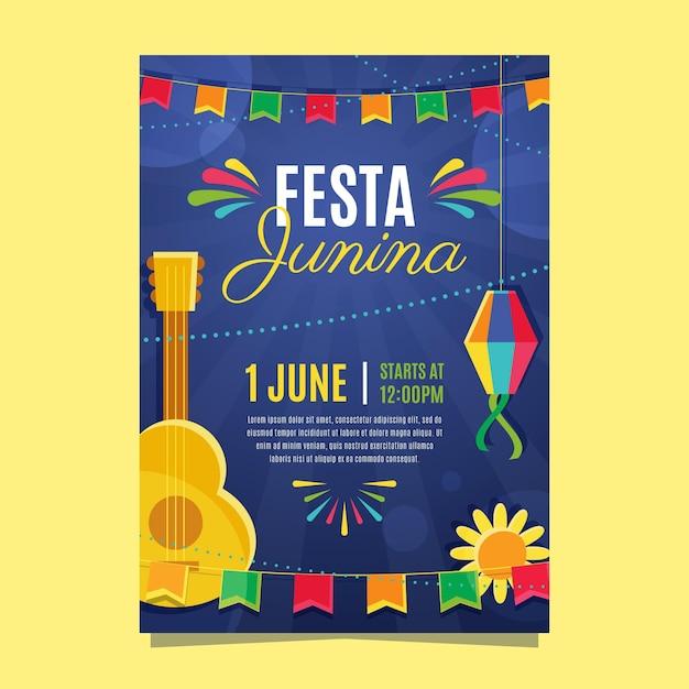 Plat ontwerp festa junina flyer Gratis Vector