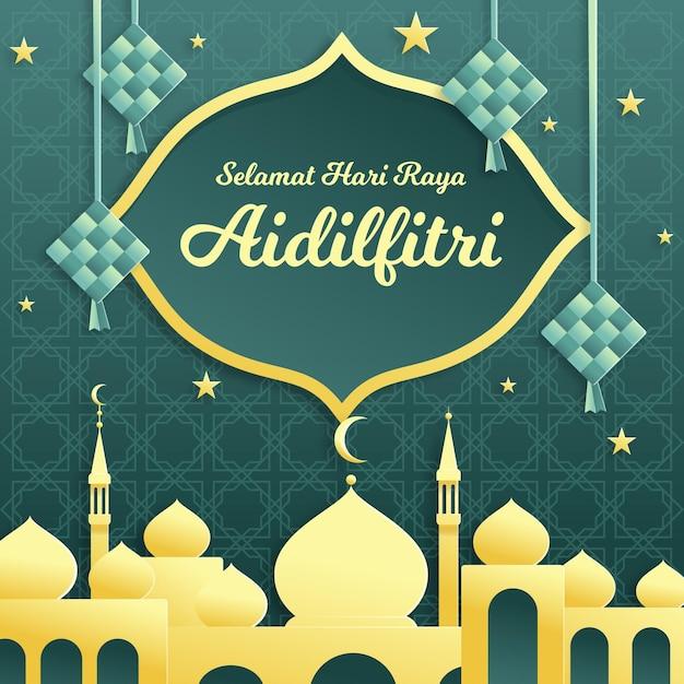 Plat ontwerp hari raya aidilfitri met moskee en ketupat Gratis Vector
