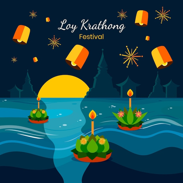 Plat ontwerp loy krathong-evenement Premium Vector