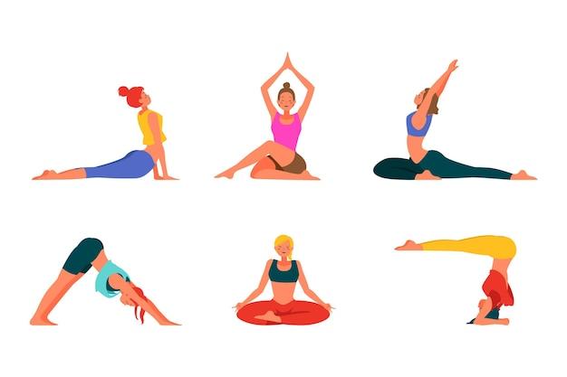 Plat ontwerp mensen doen yoga Gratis Vector
