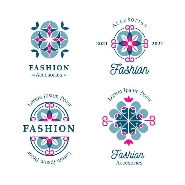 Plat ontwerp modeaccessoires logo pack Premium Vector