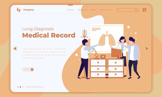 Plat ontwerp over longdiagnose of medisch dossier op bestemmingspagina Premium Vector