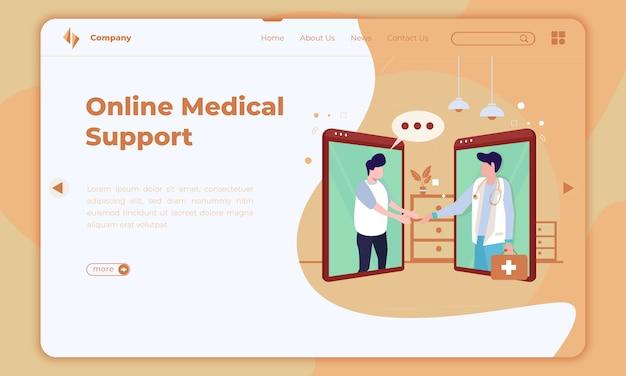 Plat ontwerp over online medische ondersteuning op bestemmingspagina Premium Vector