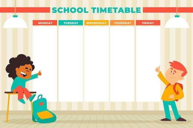 Plat ontwerp terug naar schoolrooster met kinderen Gratis Vector