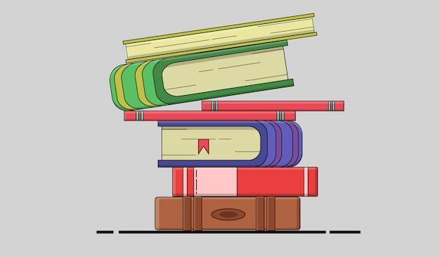 Plat ontwerp uit een stapel boeken voor leren, onderwijs en school Premium Vector