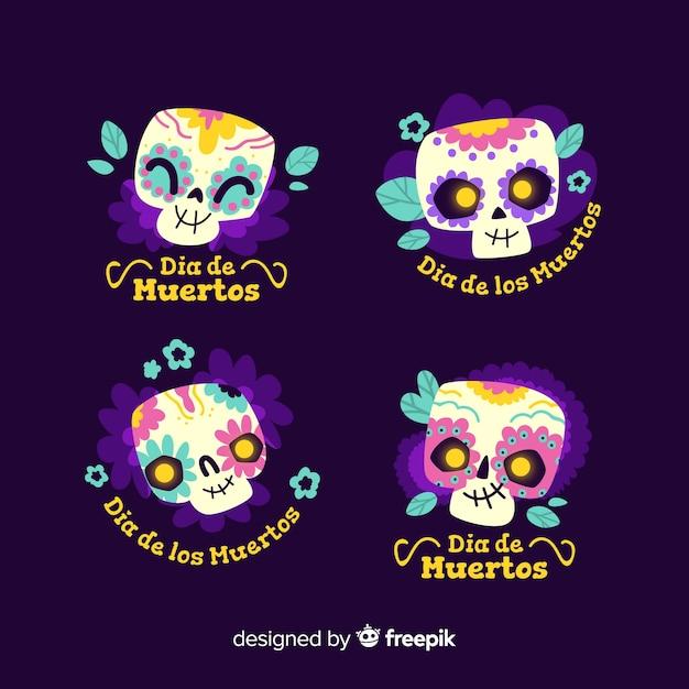 Plat ontwerp van dia de muertos labelcollectie Gratis Vector