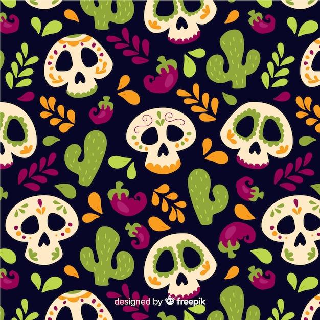 Plat ontwerp van dia de muertos-patroon Gratis Vector