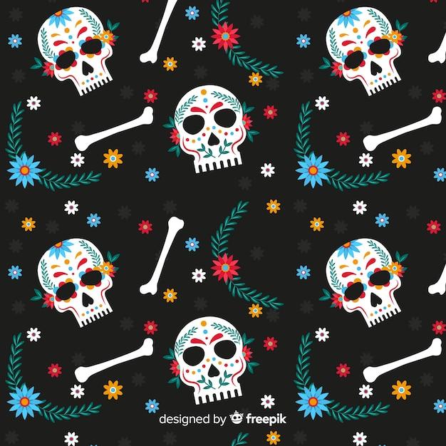Plat ontwerp van dia de muertos pettern Gratis Vector