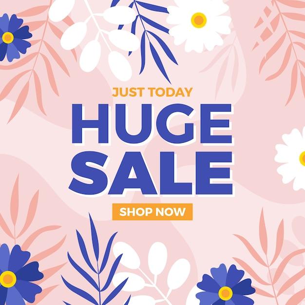 Plat ontwerp voor de lente enorme verkoop Gratis Vector