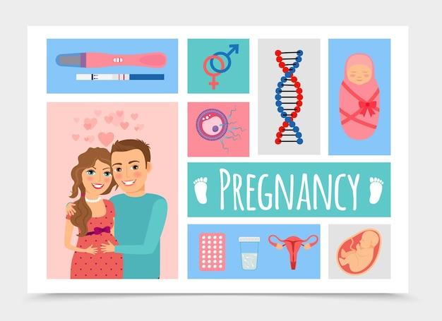 Plat pasgeboren kleurrijk met gelukkige zwangere vrouw en man illustratie Gratis Vector
