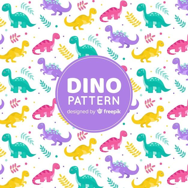 Plat patroon van dinosaurussen Gratis Vector