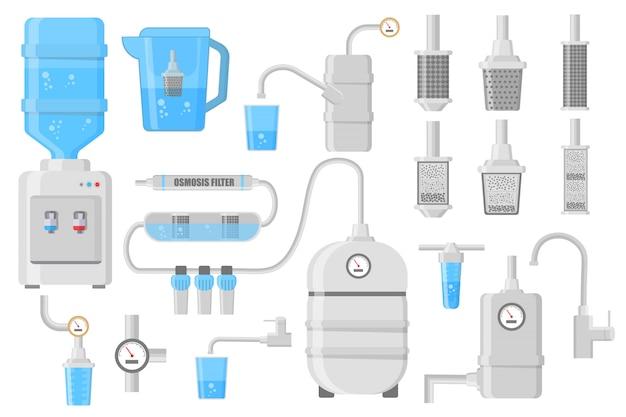 Plat pictogrammen van waterfilter geïsoleerd op een witte achtergrond. set van verschillende soorten waterfilters en systeemillustraties. illustratie in plat ontwerp. Premium Vector