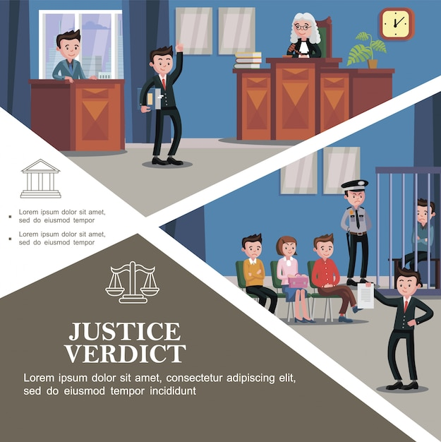 Plat rechtssysteem sjabloon met verschillende deelnemers aan de rechtszitting en gelukkig advocaat met document met gerechtelijke uitspraak voor de jury Gratis Vector