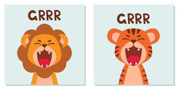 Plat schattig leeuw en tijger open mond brullen. trendy scandinavische stijl. dierlijke stripfiguur geïsoleerd op de achtergrond. Premium Vector