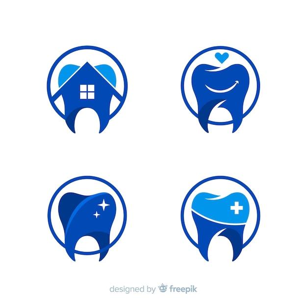 Plat tandheelkundig kliniek-logo Gratis Vector