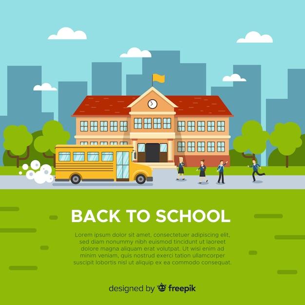 Plat terug naar school achtergrond Gratis Vector