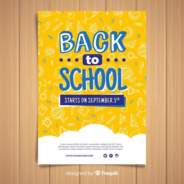 Plat terug naar school kaartsjabloon Gratis Vector