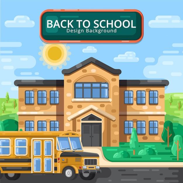 Plat terug naar school Premium Vector
