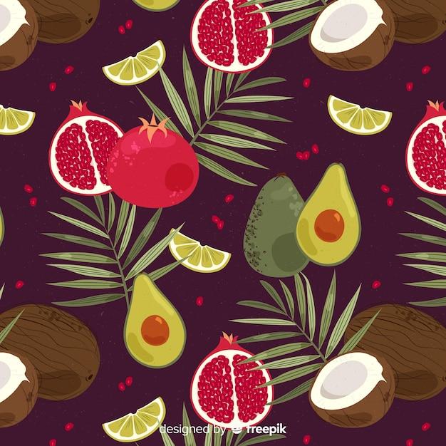 Plat tropisch fruit en palmenpatroon Gratis Vector