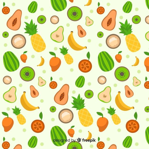 Plat tropisch fruitpatroon Gratis Vector