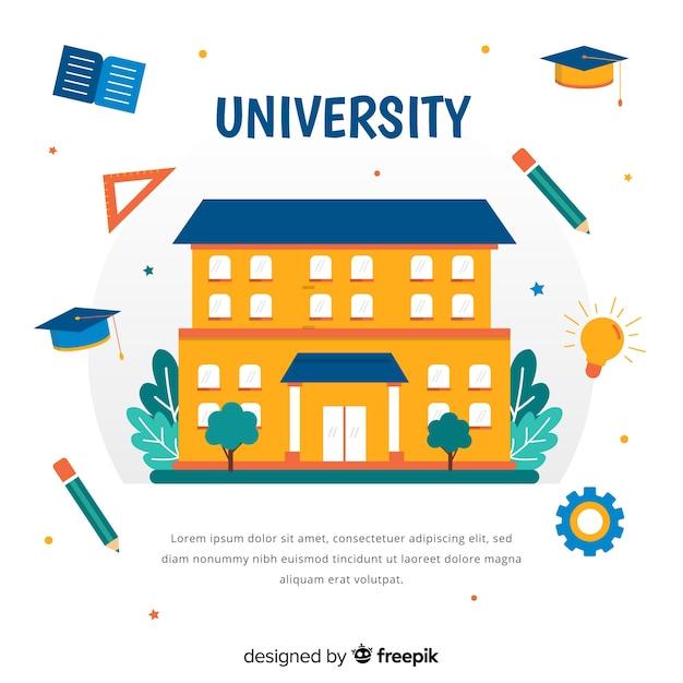 Plat universitair concept met onderwijselementen Gratis Vector