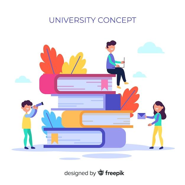 Plat universitair concept met schoolelementen Gratis Vector