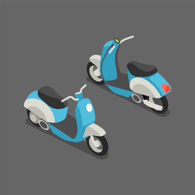 Platte 3d isometrische scooter of motorfiets. Premium Vector