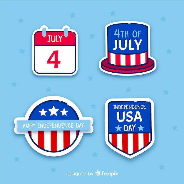 Platte 4 juli badge-collectie Gratis Vector