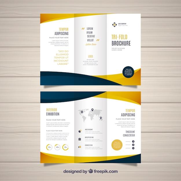 Platte abstracte driebladige brochure Gratis Vector