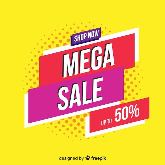 Platte abstracte mega-verkoop achtergrond Gratis Vector