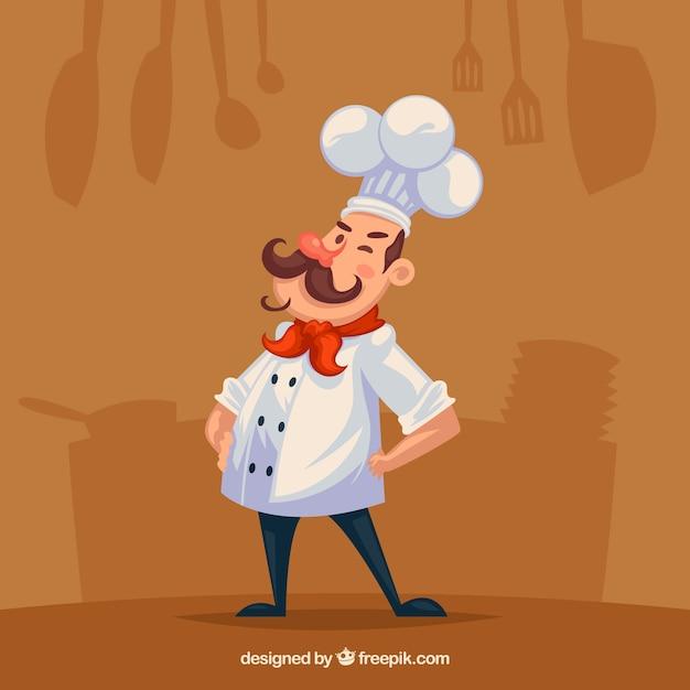Platte achtergrond met silhouetten en chef-kok Gratis Vector